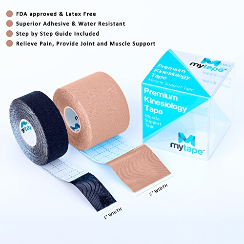 Kinesiology Tape Pro, Muscle Support Adhesive, Physio Therapeutic Recovery Sports Athletic Aid, Mytape, 2 Uncut Rolls (2''W x 16.4'L / 1''W x 16.4'L, Beige / Black) by mytape (Image #1)