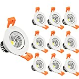 LightingWill 10-Pack 3W CRI80 LED Downlight Dimmable 220LM Directional Recessed COB Ceiling Light Cut-out 2in(51mm) 60 Beam Angle 3000K-3500K Warm White 25W Halogen Bulbs Equivalent