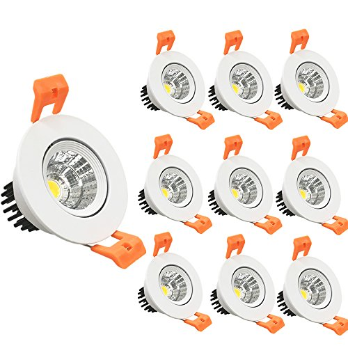 LightingWill 10-Pack 3W CRI80 LED Downlight Dimmable 247LM Directional Recessed COB Ceiling Light Cut-Out 2in(51mm) 60 Beam Angle 4000K-4500K Natural White 25W Halogen Bulbs Equivalent