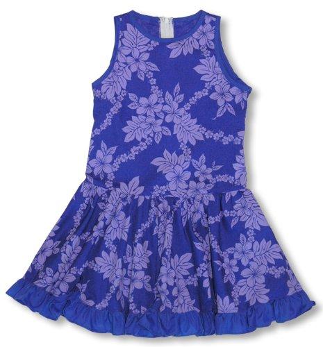 RJC Girls Tropical Garden Lei Drop Waist Short Tank Dress Purple (Garden Drop Waist Dress)