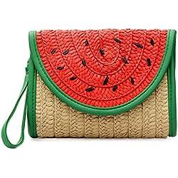 YSMYWM Women Watermelon Fruit Straw Plaited Clutch Handbags Beach Bag Purse