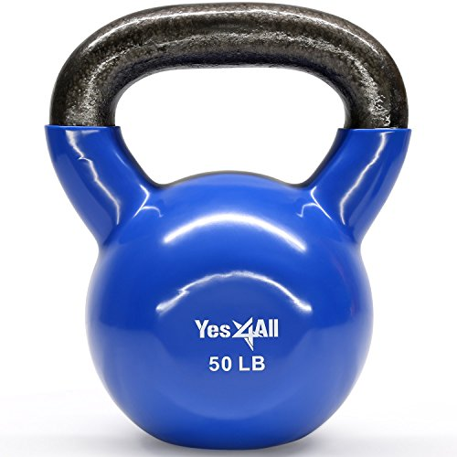 Kettlebell Weights Set – Great for Full Body Workout and Strength Training – Vinyl Kettlebell 50 lbs ()
