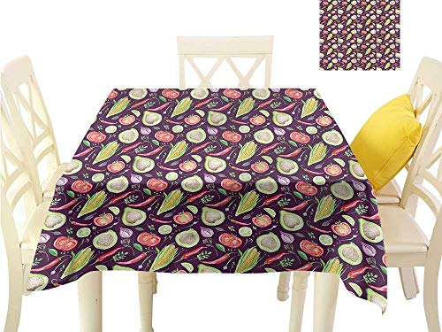 WilliamsDecor Dining Table Cover Watercolor,Sketch Vegetables Pepper Non Slip Tablecloth W 60