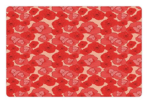 Pale Pink Pet Mats for Food and Water by Ambesonne, Seasonal Gardening Plants Pattern with Red Poppies Natural Ornaments Artwork, Rectangle Non-Slip Rubber Mat for Dogs and Cats, Coral Scarlet (Scarlet Coral)