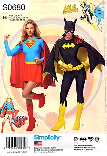 Simplicity Sewing Pattern S0680 1036 Misses Sizes 6-14 SuperGirl Batwoman Costumes -