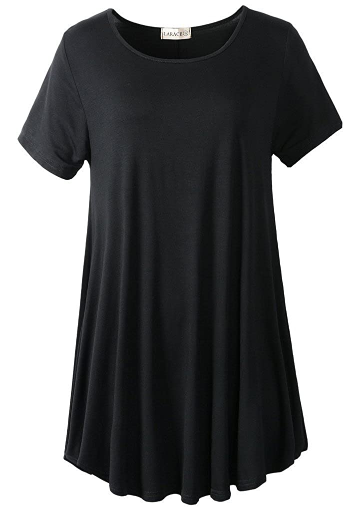 0cd69ccc2c2 Amazon.com  LARACE Women Short Sleeves Flare Tunic Tops for Leggings Flowy  Shirt  Clothing