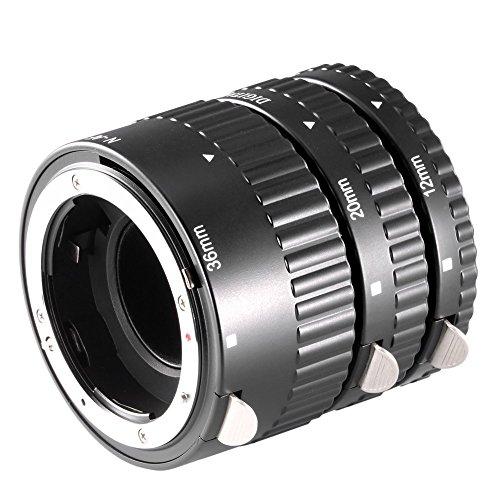 Neewer 12/20/36 Milímetros AF enfoque automático ABS Set tubos extensión para Nikon DSLR cámaras:...