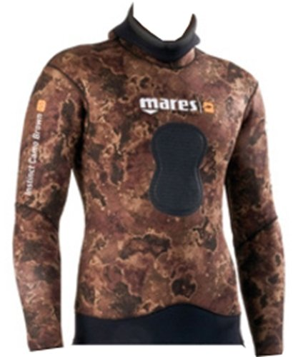 Mares Pure Instinct 7mm Spearfishing Freediving Wetsuit Jacket, Brown Camo, S3 Medium - Jacket 7mm Mens Wetsuit
