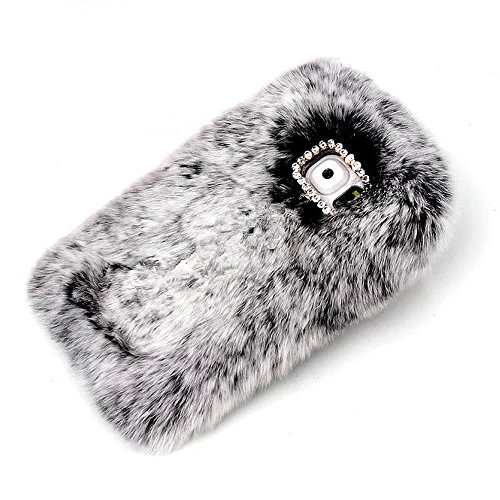 Edge Fine Trendy (Rejected all traditions Lovely Diamond Bow Bling Furry Rabbit Fur Shiny Plush Fluffy Soft Warm Case Back Cover for Samsung Galaxy S7 Edge - Gray)