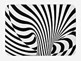 Ambesonne Abstract Surreal Bath Mat, Optical Illusion Stripes Monochrome Spiral Wirlpool Like Artwork, Plush Bathroom Decor Mat with Non Slip Backing, 29.5 W X 17.5 L Inches, Charcoal Grey White