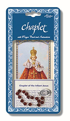 uxe Chaplet with Dark Red Glass Beads Packaged with a Laminated Holy Card & Instruction Pamphlet. Comes 3 Chaplets to a pack (Chaplet Card)