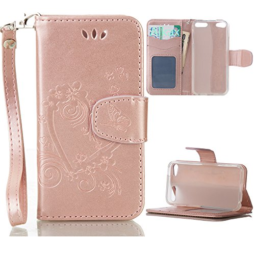 iPod Touch 5 Case , iPod Touch 6 Case, Alkax PU Leather Wallet Kickstand Magnet Flip Folio STAND Protective Cover with Card ID Card Slots Wrist Strap for Apple iPod Touch 5 6th Generation (Rose Gold)