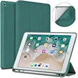 New iPad 9.7 2018/2017 Case with Pencil Holder, Soke Slim Fit Smart Case Trifold Stand with Shockproof Soft TPU Back Cover and Auto Sleep/Wake Function for iPad 9.7 inch 5th/6th Generation, Lake Blue