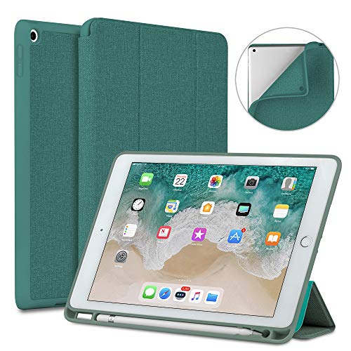 Soke New iPad 9.7 2018/2017 Case with Pencil Holder, Slim Fit Smart Case Trifold Stand with Shockproof Soft TPU Back Cover and Auto Sleep/Wake Function for iPad 9.7 inch 5th/6th Generation, Lake Blue