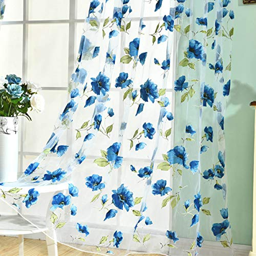 """BROSHAN Voile Sheer Curtains Blue, Spring Nature Lush Flower Blossom with Green Leaves Print Sheer Curtains Panels for Bedoom Living Room Window Sheer Treatment Drapes Rod Pocket,78""""x39"""", Set of 2"""