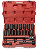 Neiko 02409A 3/4'' Drive Deep Impact Socket Set, 22 Piece | Includes Ratchet & Bar Drivers | SAE (7/8'' - 2'') | Cr-Mo Steel