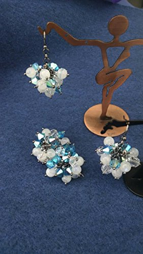 (Rainbow Moonstone, crystal cluster earrings)