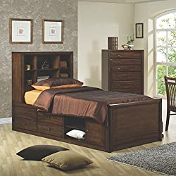 Coaster Home Furnishings Hillary Twin Bookcase Bed with Underbed Storage Warm Brown