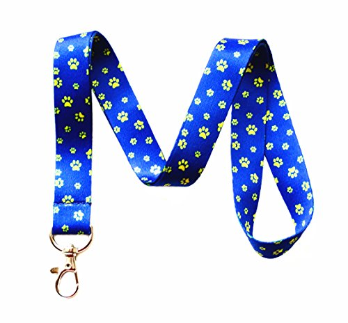 - Gold Paw Print Lanyard Key Chain Id Badge Holder (Blue & Gold)