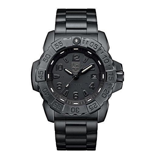 Luminox Men's 'SEA' Swiss Quartz Stainless Steel Casual Watch, Color:Black (Model: 3252.BO)