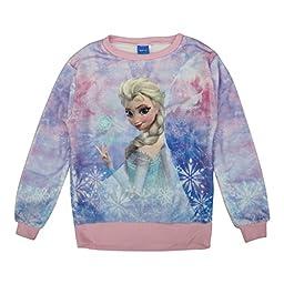 Disney Big Girls Pink Frozen Elsa Snowflake Print Long Sleeve Sweater 16