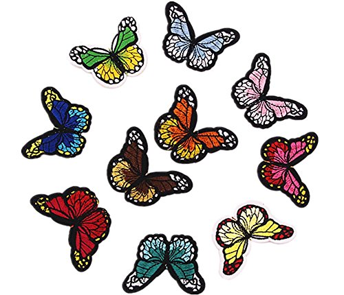Hosaire 10 Pcs Iron Sew On Embroidered Patches Motif Applique Colorful Butterflies Clothed Decoration Patches Dress Backpack Jacket Jeans Hats Bag DIY (Butterfly Embroidered Iron)