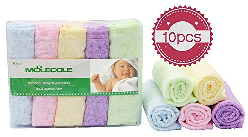 Moolecole Ultra Soft 10-pack Baby Washcloths Bamboo Fiber Towels Sensitive Skin Wipes
