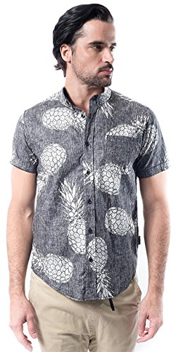 Brooklyn Athletics Men's Hawaiian Aloha Shirt Vintage Casual Button Down Tee, Black Pineapple, - Skull Button Shirt Mens Front