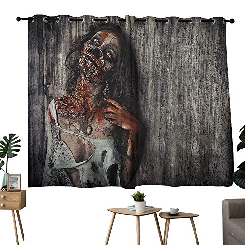 NUOMANAN Curtains 63 inch Length Zombie,Angry Dead Woman Sacrifice Fantasy Design Mystic Night Halloween Image, Dark Taupe Peach Red,Wide Blackout Curtains, Keep Warm Draperies, Set of 2 42