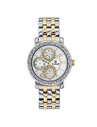 Titan Women's 9743BM01 Contemporary - Multifunction - White Dial Silver Metal Strap Watch