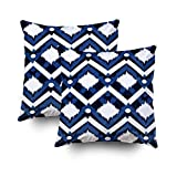 GROOTEY Decorative Cotton Square Set of 2 Pillow Case Covers Zippered Closing Home Sofa Decor Size 20X20Inch Costom Pillowcse Throw Cover Cushion,Ikat Pattern Design Fabric