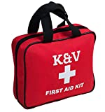 Deluxe First Aid Waterproof Safety Medical Kit by K&V Group – Fully Complete W/ 121 Items - Emergency Supplies Kit for Travel - Home - Car - Bonus Mini Bag & Instructions Manual