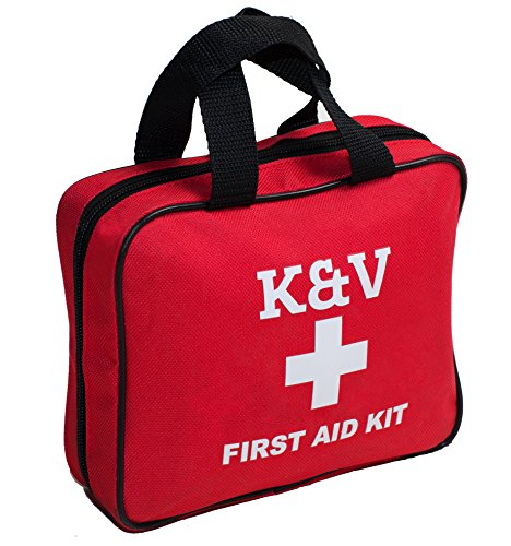 Deluxe First Aid Waterproof Safety Medical Kit By K&V Group – Fully Complete W/ 121 Items - Emergency Supplies Kit For Travel - Home - Car - Bonus Mini Bag - Military Discounts First And Responders