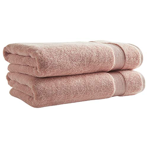 Rivet Classic Supima Cotton Bath Towels, 2-Pack, Peach-Pink
