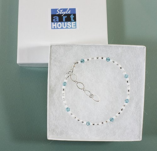 Style-ARThouse ''Take Me To the Caribbean'' Bracelet with Aqua Blue Swarovski Crystals, 7.5 Inches by Style-ARThouse (Image #1)