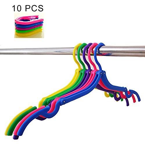 XREXS 10pcs Portable Travel Hangers Foldable Plastic Trav...