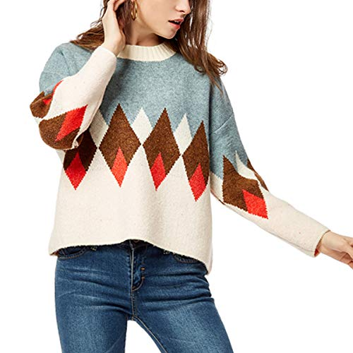 Argyle Jumper - Womens Vintage Winter Knitted Crewneck Argyle Loose Pullover Tops Sweater Jumper (Medium-Large, Argyle)