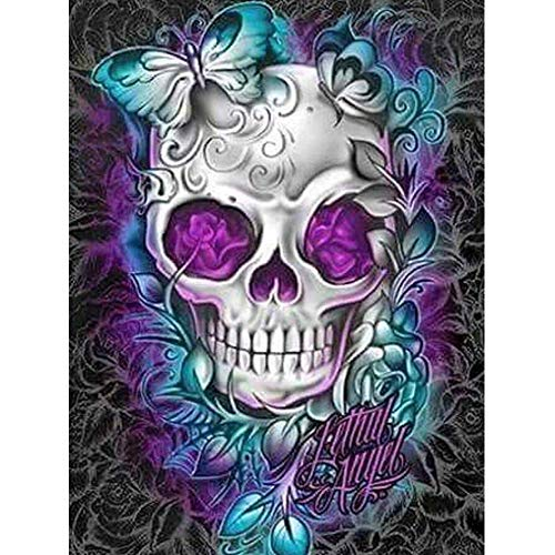 - Skull Diamond Painting-Large DIY 5D Diamond Painting Kits for Adults Full Drill Colorful Rhinestone Embroidery Paintings Cross Stitch Arts Crafts for Home Living Room Wall Decor(40X50cm)