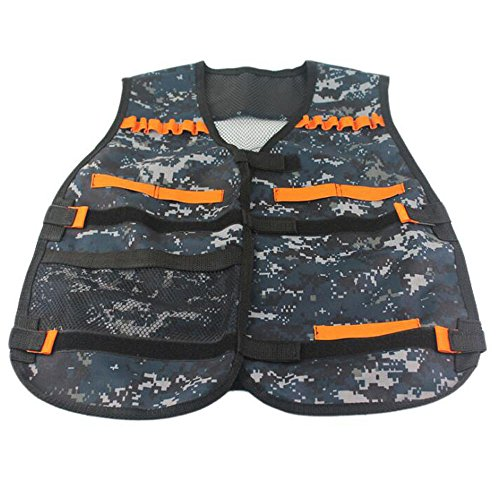 [Adjustable Tactical Vest with Storage Pockets for Nerf Strike Elite Team Toy Foam Darts Series] (Nerf Boy Costume)