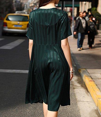 Übergröße Abendkleid Grün Knee Seide Kleider Kleid Cocktail DISSA S9977 Damen Gestreift Long xvBPwB4UqY
