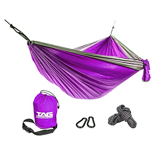 - Double Hammock is Spacious, Lightweight & Super Comfortable - Folding Parachute Portable Hammock is Perfect for Backpacking, Tree, Yard and Outdoor Travel (Camping Hammock)