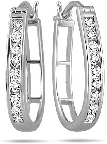 AGS Certified 1/2 Carat TW Diamond Hoop Earrings in 10k White Gold (K-L Color, I2-I3 Clarity)