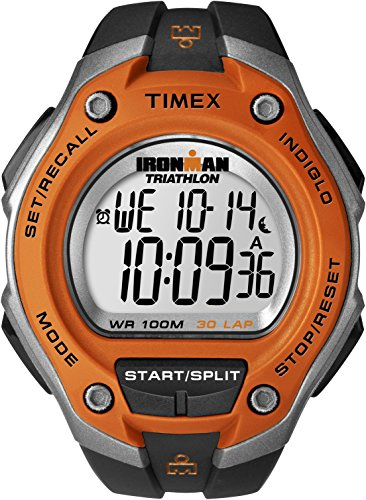 Sports Watch 100m (Timex Men's T5K529 Ironman Classic 30 Oversized Black/Orange Resin Strap Watch)