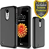 LG K20 Plus, LG K20 V, LG Harmony, LG Grace, LG K10 2017, ATUS - Hybrid Dual Layer Hard Cover Silicone Case With HD Screen Protector and Stylus Pen (Black/Black)