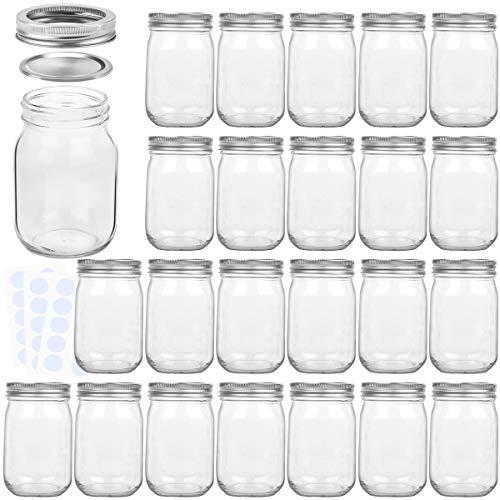KAMOTA Mason Jars 12 oz With Regular Lids and Bands, Ideal for Jam, Honey, Wedding Favors, Shower Favors, Baby Foods, DIY Magnetic Spice Jars, 24 PACK, 30 Whiteboard Labels Included