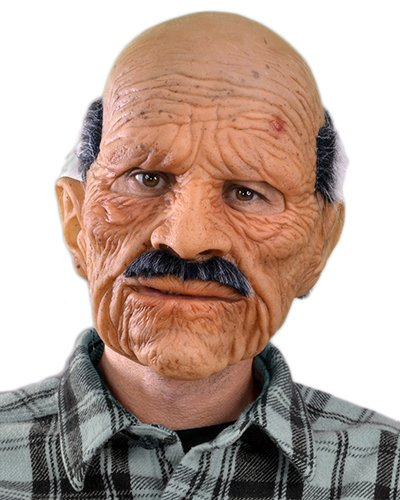 Zagone Bad Geezer Mask, Old Balding Man, Mustache, (Old Man Halloween Costume)