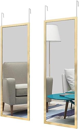 whitebeach Door Mirror Full Length Mirror Over The Door Mirror Hanging Mirror Dressing Mirror Rectangle Modern Dressing Mirror Gold 48″ x 16″ 2pc