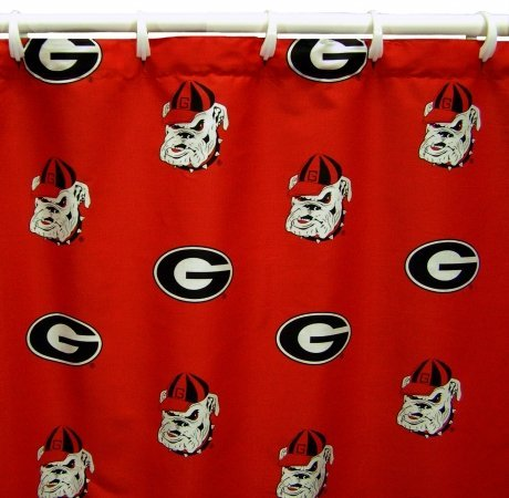 NCAA Georgia Bulldogs Shower Curtain Bathroom Decoration