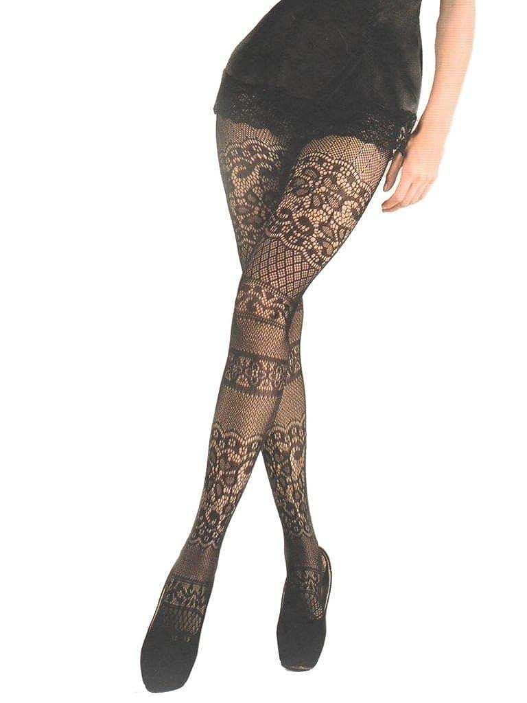 Yelete Killer Legs Women's Queen Plus Size Fishnet Pantyhose 168YD040Q, Black, Intarsia Lace