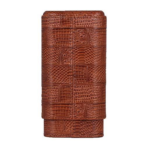 GALINER Cigar Case Genuine LeatheCedar Wood Lined Cigar Holder 60 Gauge Cigar Portable Travel Box 3 Cigars Mini Humidor (Brown)